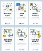 Vector Set Of Mobile App Onboarding Screens. Business Vision, Money Flow, Market Growth, Economic Tr poster