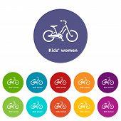 Kids Women Bike Icon. Simple Illustration Of Kids Women Bike Vector Icon For Web poster