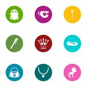 Prom Icons Set. Flat Set Of 9 Prom Vector Icons For Web Isolated On White Background poster