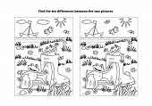 Summer Joy Themed Find The Ten Differences Picture Puzzle And Coloring Page With Gumboots And Happy  poster
