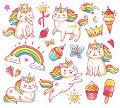 Cute Magic Colorful Fairytale Funny Unicorn Cats In Crown, Sweet Cupcakes, Ice Cream, Rainbow And Cl poster