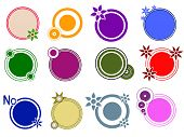 Pop Circle Graphic Elements with Flower and circle motifs