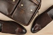 Luxurious Leather Brown Shoes With Leather Briefcase. Mens Accessories. poster