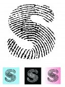 Fingerprint Alphabet Letter S (Highly detailed Letter - transparent so can be overlaid onto other graphics)