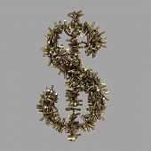 Dollar Sign Made Of Bullets