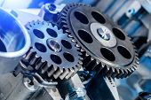 Steel Gears And Rolling Bearing. Gear. Abstract Industrial Background. poster