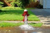 foto of gushing  - Open fire hydrant open and gushing water - JPG
