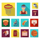 Basketball And Attributes Flat Icons In Set Collection For Design.basketball Player And Equipment Ve poster