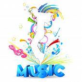 macho dançando no fundo musical colorido