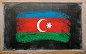Flag Of Azerbaijan On Blackboard Painted With Chalk