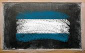 Flag Of El Salvador On Blackboard Painted With Chalk