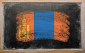 Flag Of Mongolia On Blackboard Painted With Chalk