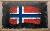 Flag Of Norway On Blackboard Painted With Chalk