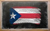 Flag Of Puertorico On Blackboard Painted With Chalk