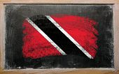 Flag Of Trinidad And Tobago On Blackboard Painted With Chalk