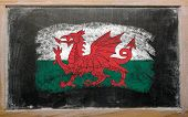 Flag Of Wales On Blackboard Painted With Chalk