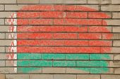 Flag Of Belarus On Grunge Brick Wall Painted With Chalk