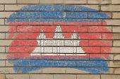 Flag Of Cambodia On Grunge Brick Wall Painted With Chalk