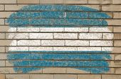 Flag Of El Salvador On Grunge Brick Wall Painted With Chalk