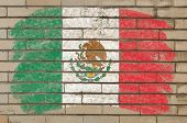 Flag Of Mexico On Grunge Brick Wall Painted With Chalk