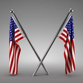 Two American flags hanging - 3d render