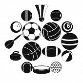 Sport Balls Icons Set. Flat Illustration Of 16 Sport Balls Vector Icons For Web poster