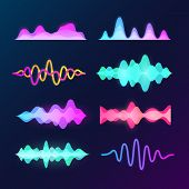 Bright Color Sound Voice Waves Isolated On Background. Abstract Waveform, Music Pulse And Equalizer  poster