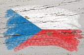 Flag Of Czech On Grunge Wooden Texture Painted With Chalk