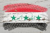 Flag Of Iraq On Grunge Wooden Texture Painted With Chalk