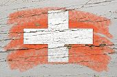 Flag Of Schwitzerland On Grunge Wooden Texture Painted With Chalk
