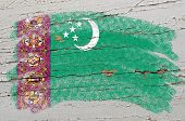 Flag Of Turkmenistan On Grunge Wooden Texture Painted With Chalk