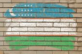 Flag Of Uzbekistan On Grunge Brick Wall Painted With Chalk
