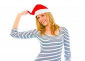 Playful Lovely Teen Girl In Santa Hat
