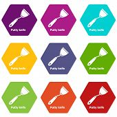 Putty Knife Icons 9 Set Coloful Isolated On White For Web poster