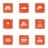 Municipal Economy Icons Set. Grunge Set Of 9 Municipal Economy Vector Icons For Web Isolated On Whit poster