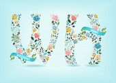 Welcome Home. Floral Letters W And H. Watercolor Graceful Flowers And Plants. Blue Ribbons With Gold poster