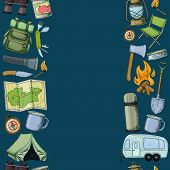Seamless Borders Of Travel Equipment. Accessories For Camping And Camps. Colorful Sketch Cartoon Ill poster