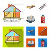 Drawing Accessories, Metropolis, House Model. Architecture Set Collection Icons In Cartoon, Flat Sty poster