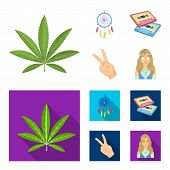Amulet, Hippie Girl, Freedom Sign, Old Cassette.hippy Set Collection Icons In Cartoon, Flat Style Ve poster