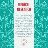 Medical Research Pattern With Flat Line Icons Of Doctor Ambulance Medical Equipment Clinic Symbols F poster