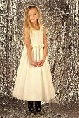 Fashion And Beauty, Little Princess. Little Girl In Fashionable Dress, Prom. Fashion Model On Silver poster