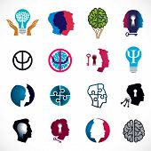 Постер, плакат: Psychology Brain And Mental Health Vector Conceptual Icons Or Logo Set Relationship And Gender Psy