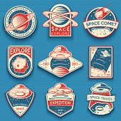 Colorful Space, Ufo And Planet Vector Labels, Logos, Badges, Emblems. Explore Mission In Space poster