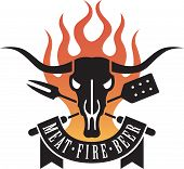 stock photo of longhorn  - Barbecue icon features a cow skull and crossed utensils with flames and a banner proclaiming the holy triumvirate of barbecue - JPG