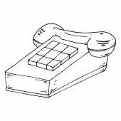 Stationary Push-button Phone. Retro Phone. Vector Illustration Of A Stationary Push-button Telephone poster
