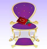 Sillón púrpura y libro rojo con Rosa