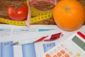 Concept Of Diet. Low-calorie Fruit Diet. Diet For Weight Loss. Plate With Measuring Tape And Fruits  poster