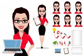 Sexy Secretary, Cartoon Character Creation Set, Pack Of Body Parts, Emotions And Things. Beautiful O poster