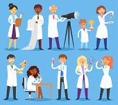 Scientist Vector Professional People Character Chemist Or Doctor Researching Medical Experiment In S poster