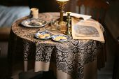 American Civil War Newspaper Rests On A Table Set With Coffee And Cookies poster